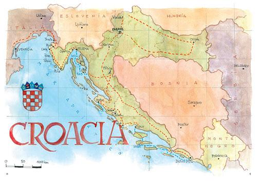 Mapa de Croacia en acuarela