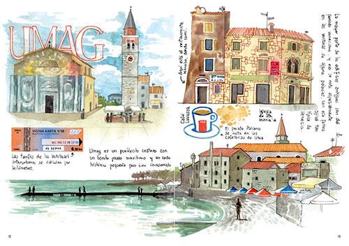 Croacia cuaderno de viajes acuarela