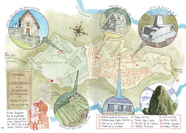 Acuarela Machu Picchu mapa