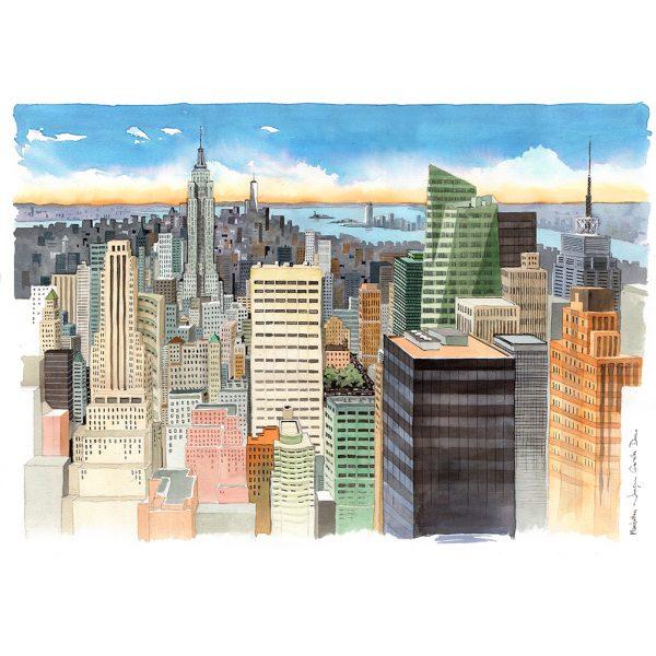Manhattan NYC acuarela