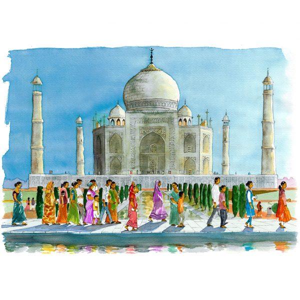 Taj Mahal acuarela