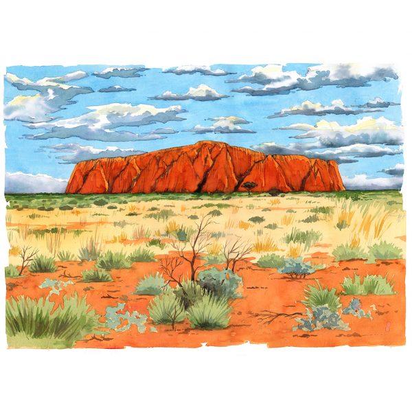 Uluru ayers rock acuarela