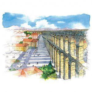 Acueducto de Segovia acuarela