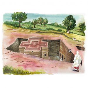 Lalibela Etiopia acuarela