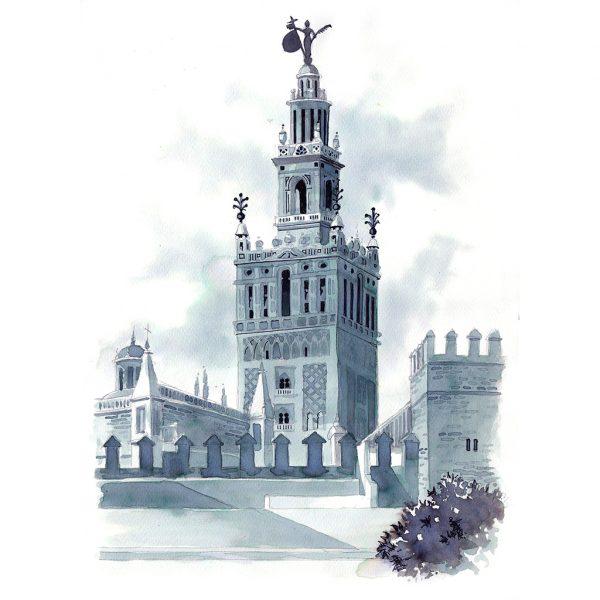 Giralda Sevilla acuarela