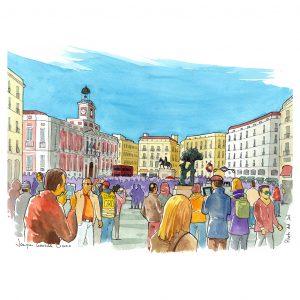 Puerta del Sol Madrid acuarela