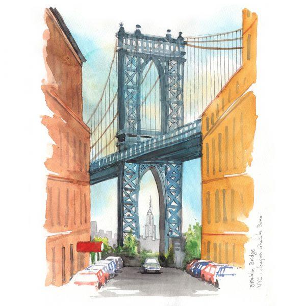 New York acuarela