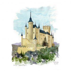 Alcazar de Segovia acuarela