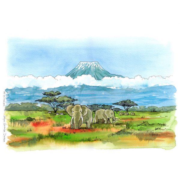 Kilimanjaro acuarela Africa