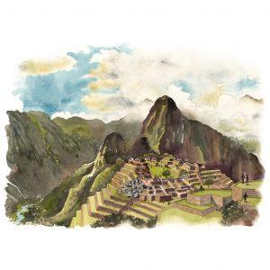 Machu Picchu Peru acuarela