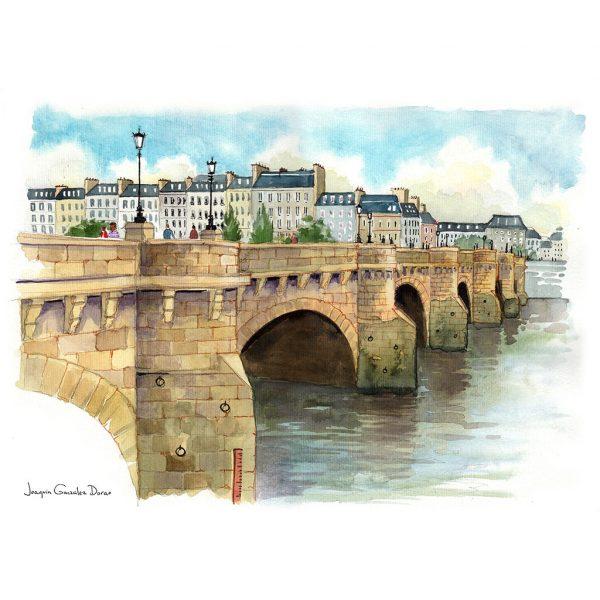 Pont Neuf Paris acuarela