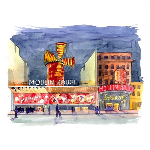 Paris Moulin Rouge acuarela