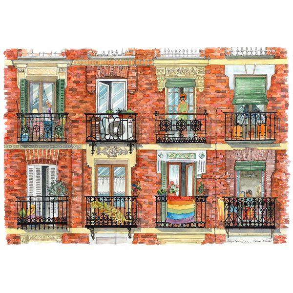 Balcones de Madrid acuarela